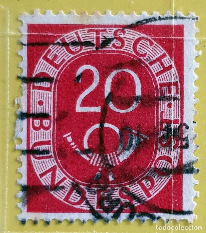 ALEMANIA - DEUTSCHE BUNDESPOST - CUERNO POSTAL Y CIFRA - 20 PFG - 1951 (Sellos - Extranjero - Europa - Alemania)