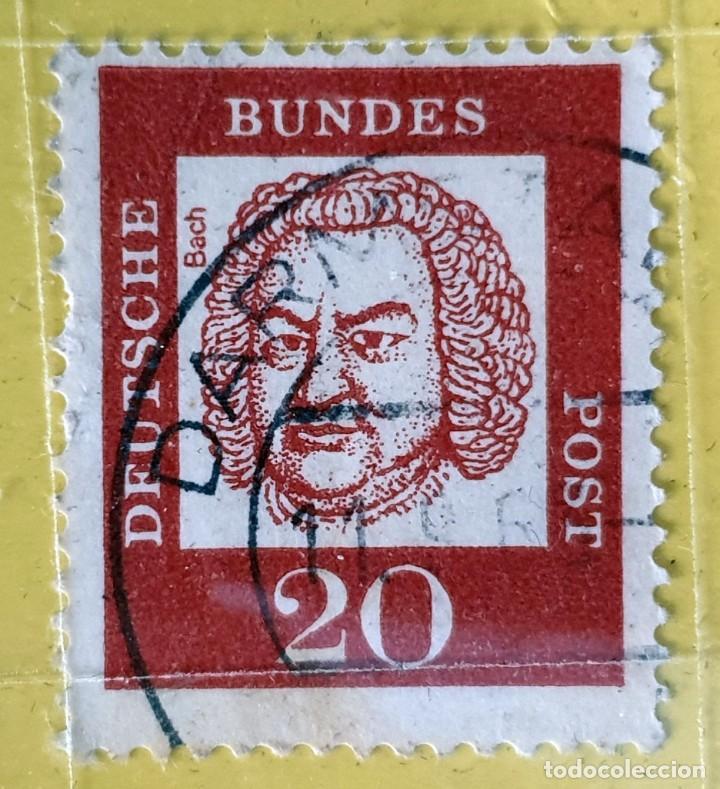 ALEMANIA - DEUTSCHE BUNDESPOST - JOHANN SEBASTIAN BACH - 20 PFG - 1961 (Sellos - Extranjero - Europa - Alemania)