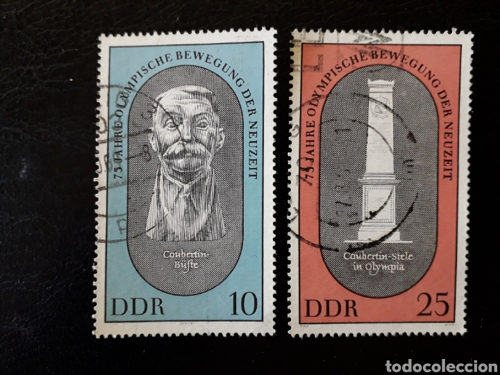 ALEMANIA ORIENTAL. DDR. YVERT 1185/6 SERIE COMPLETA USADA. DEPORTES. PIERRE DE COUBERTIN. (Sellos - Extranjero - Europa - Alemania)