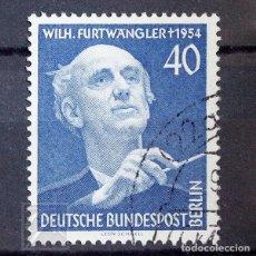 Sellos: ALEMANIA BERLÍN 1955 ~ MÚSICO WILHELM FURTWÄNGLER ~ SELLO USADO BUENO. Lote 146951346