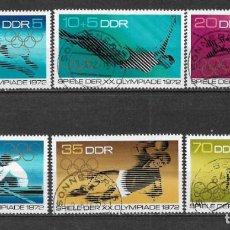 Sellos: ALEMANIA DDR 1972 USADO 20º JUEGOS OLÍMPICOS, MUNICH, - 9/3. Lote 147558554