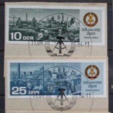 Timbres: ALEMANIA DDR - IVERT 2524/25 CON MATASELLOS ESPECIAL - 25 ANIVERSARIO DE LA D.D.R.. Lote 147793754