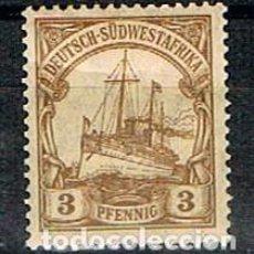 Sellos: AFRICA DEL SUDOESTE ALEMANA Nº 13, EL ACORAZADO ALEMÁN HOLENZOLLEN, CON SEÑAL DE CHARNELA. Lote 148805018