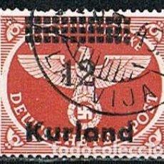 Sellos: KURLAND (LETONIA), OCUPACION ALEMANA 2ª GUERRA MUNDIAL, MICHEL Nº 4, USADO, RARISIMO. Lote 148916198