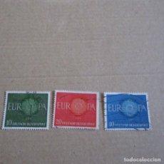 Sellos: ALEMANIA FEDERAL 1960 YVERT Nº 210/212, MATASELLADO TEMA EUROPA. Lote 150547618
