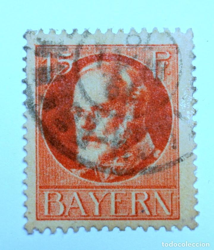 SELLO POSTAL ALEMANIA - BAVIERA - BAYERN 1920 , 15 PF , REY LUDWING III, USADO (Sellos - Extranjero - Europa - Alemania)