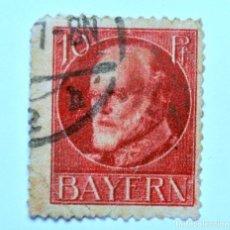 Sello postal ALEMANIA - BAVIERA - BAYERN 1914 , 10 Pf , REY LUDWING III, Usado