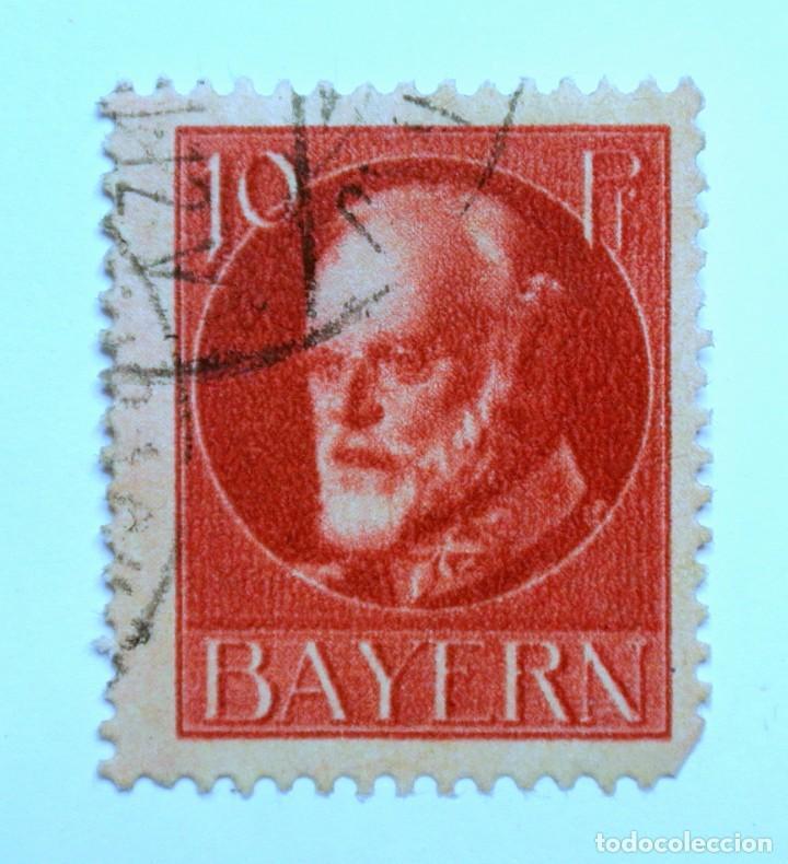 SELLO POSTAL ALEMANIA - BAVIERA - BAYERN 1916 , 10 PF , REY LUDWING III, USADO (Sellos - Extranjero - Europa - Alemania)