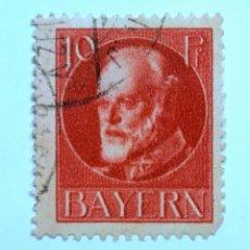 Sello postal ALEMANIA - BAVIERA - BAYERN 1916 , 10 Pf , REY LUDWING III, Usado