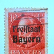 Sello postal ALEMANIA - BAVIERA - BAYERN 1919 , 10 Pf , ESTADO LIBRE DE REY LUDWING III, Usado