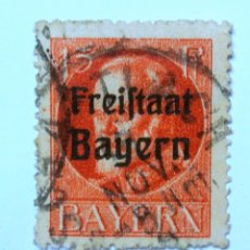 Sellos: SELLO POSTAL ALEMANIA - BAVIERA - BAYERN 1919 , 15 PF , ESTADO LIBRE DE LUDWIG III, USADO. Lote 150818598