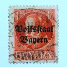 Sellos: SELLO POSTAL ALEMANIA - BAVIERA - BAYERN 1919 , 15 PF ,ESTADO DE PUEBLO VOLKSSTAAT LUDWIG III, USADO. Lote 150819194