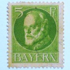 Sellos: SELLO POSTAL ALEMANIA - BAVIERA - BAYERN 1914 , 5 PF , REY LUDWIG III, USADO. Lote 150819918