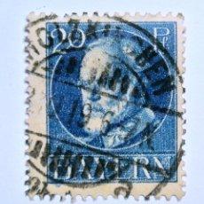 Sellos: SELLO POSTAL ALEMANIA - BAVIERA - BAYERN 1916 , 20 PF , REY LUDWIG III, USADO. Lote 150820830