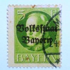 Sellos: SELLO POSTAL ALEMANIA - BAVIERA - BAYERN 1919 , 5 PF , VOLKSSTAAT ON LUDWIG III, USADO. Lote 150825850