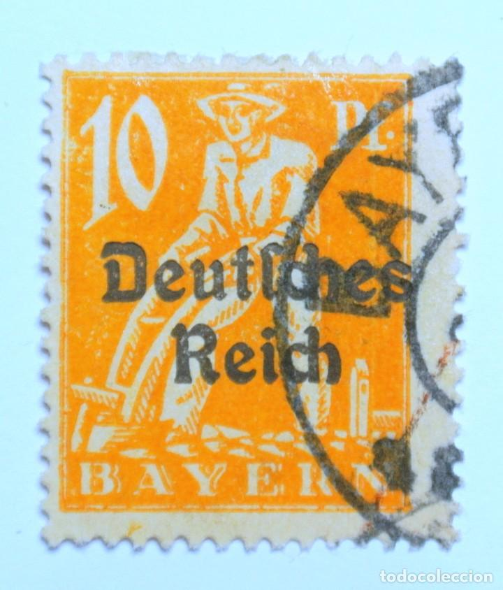 SELLO POSTAL ALEMANIA - BAVIERA - BAYERN 1920 , 10 PF , PLOWMAN, USADO (Sellos - Extranjero - Europa - Alemania)