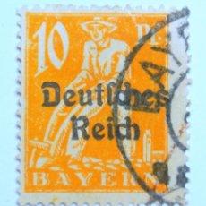 Sello postal ALEMANIA - BAVIERA - BAYERN 1920 , 10 Pf , PLOWMAN, Usado