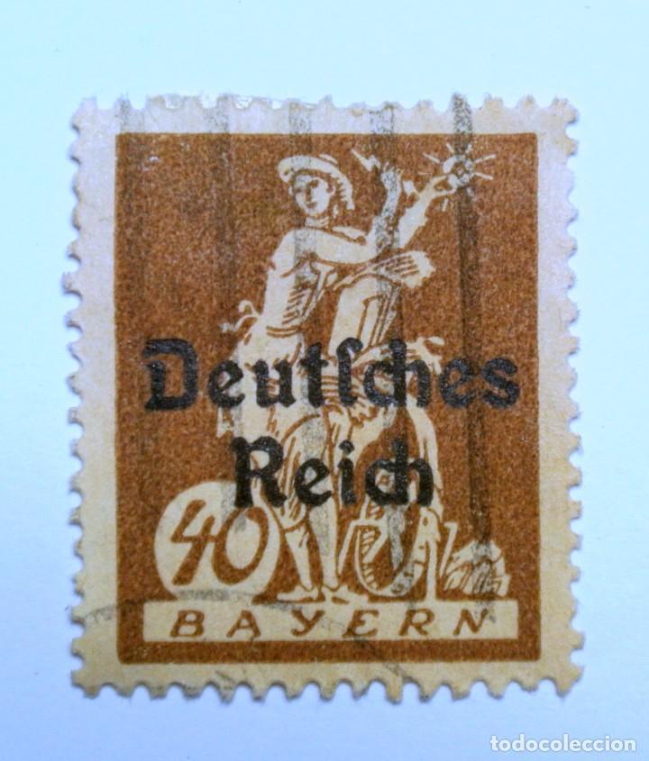 SELLO POSTAL ALEMANIA - BAVIERA - BAYERN 1920 , 40 PF , WATHERWEEL, USADO (Sellos - Extranjero - Europa - Alemania)