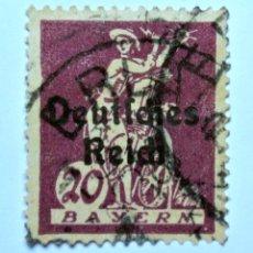 Sello postal ALEMANIA - BAVIERA - BAYERN 1920 , 20 Pf , watherweel, Usado