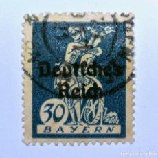 Sello postal ALEMANIA - BAVIERA - BAYERN 1920 , 30 Pf , watherweel, Usado