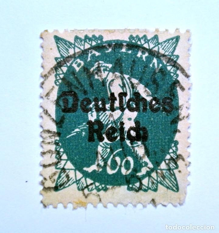 SELLO POSTAL ALEMANIA - BAVIERA - BAYERN 1920 , 60 PF , SOWER, USADO (Sellos - Extranjero - Europa - Alemania)