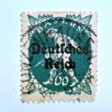 Sello postal ALEMANIA - BAVIERA - BAYERN 1920 , 60 Pf , SOWER, Usado