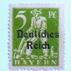 Sellos: SELLO POSTAL ALEMANIA - BAVIERA - BAYERN 1920 , 5 PF , PLOWMAN, USADO. Lote 150831950