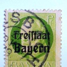 Sellos: SELLO POSTAL ALEMANIA - BAVIERA - BAYERN 1919 , 5 PF , FREISTAAT ON LUDWIG III, USADO. Lote 150832538