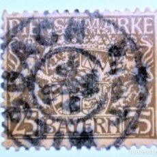 Sellos: SELLO POSTAL ALEMANIA - BAVIERA - BAYERN 1916, 25 PF , BAYERN COAT OF ARMS, USADO. Lote 150835162