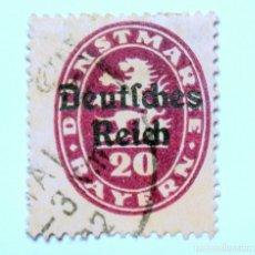 Sellos: SELLO POSTAL ALEMANIA - BAVIERA - BAYERN 1920, 20 PF , LEON Y VALOR EN OVALO, OVERPRINT SOBRE,USADO. Lote 150837934