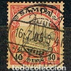 Sellos: SAMOA, COLONIA ALEMANA,Nº 13, EL ACORAZADO ALEMÁN HOLENZOLLEN, USADO. Lote 151117318