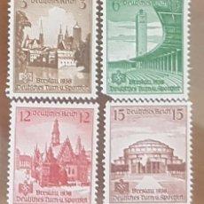 Sellos: SELLOS DE ALEMANIA III REICH 1938 IVERT 608/11. 16º FIESTA DEPORTIVA DE BRESLAU. MONUMENTOS, N/G.. Lote 151456330