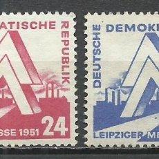 Sellos: ALEMANIA DDR - 1951 - MICHEL 282/283* MH. Lote 151592526