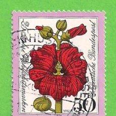 Sellos: ALEMANIA FEDERAL - MICHEL 820 - YVERT 669 - FLORA - MALVA, ALTHAEA SP. (1974).. Lote 151604694