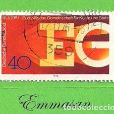 Sellos: ALEMANIA FEDERAL - MICHEL 880 - YVERT 729 - XXV ANIV. DE EUROPA DEL CARBÓN Y EL ACERO (1976).. Lote 151606690