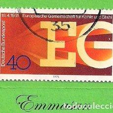 Sellos: ALEMANIA FEDERAL - MICHEL 880 - YVERT 729 - XXV ANIV. DE EUROPA DEL CARBÓN Y EL ACERO (1976).. Lote 151606898