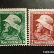 Sellos: ALEMANIA IMPERIO TERCER REICH 1935, MICHEL 569-570 X ** MNH VERTICAL GUM RIPLING. Lote 152395010