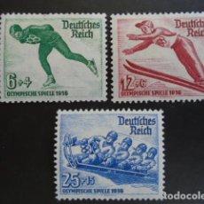Sellos: ALEMANIA IMPERIO TERCER REICH 1935 YVERT 559-561** MICHEL 600-602**MNH DEPORTES INVIERNO . Lote 152418618