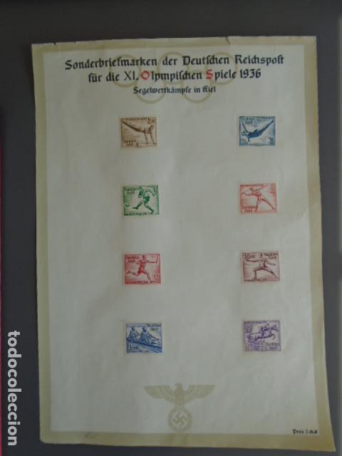 ALEMANIA IMPERIO TERCER REICH 1936 YVERT 565-572 MICHEL 609-616 EN HOJA CONMEMORATIVA (Sellos - Extranjero - Europa - Alemania)