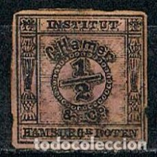 Sellos: HAMBURG 1861 INSTITUT HAMBURGER BOTEN W. KRANTZ, COMPAÑIA PRIVADA DE CORREO, NEGRO SOBRE PAPEL ROSA. Lote 152673258