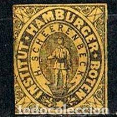 Sellos: HAMBURG 1861 INSTITUT HAMBURGER BOTEN W. KRANTZ, COMPAÑIA PRIVADA DE CORREO, NEGRO SOBRE PAPEL AMARI. Lote 152673506