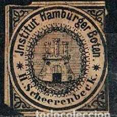 Sellos: HAMBURG 1863 INSTITUT HAMBURGER BOTEN SCHEERENBECK, COMPAÑIA PRIVADA DE CORREO, PAPEL AMARILLO. Lote 152674106