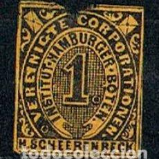 Sellos: HAMBURG 1863 INSTITUT HAMBURGER H. SCHEERENBECK, PAPEL AMARILLO. Lote 152674478