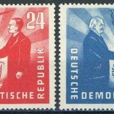 Sellos: ALEMANIA ORIENTAL DDR 1951 IVERT 36/7 * VISITA PRESIDENTE POLACO BIERUT - PERSONAJES. Lote 153849142