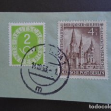 Sellos: BERLÍN , 1953, YVERT Nº 92 , EN FRAGMENTO , IGLESIA DEL EMPERADOR GUILLERMO. Lote 155265210