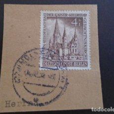 Sellos: BERLÍN , 1953, YVERT Nº 92 , EN FRAGMENTO , IGLESIA DEL EMPERADOR GUILLERMO. Lote 155265254