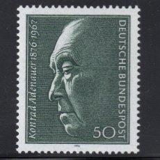 Sellos: ALEMANIA FEDERAL 1976 IVERT 725 *** CENTENARIO NACIMIENTO KONRAD ADENAUER - PERSONAJES. Lote 156527422