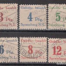 Sellos: ALEMANIA LOCALES, SPREMBERG 1945 MICHEL Nº 1 / 6 . Lote 156536862