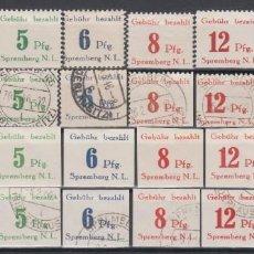 Sellos: ALEMANIA LOCALES, SPREMBERG 1945 MICHEL Nº 7A / 14A , 7B / 14B, . Lote 156537346