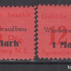 Sellos: ALEMANIA LOCALES, SPREMBERG 1945 MICHEL Nº 15 A / 16 A, /*/. Lote 156553386